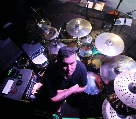 Brian Daggett playing cymbals