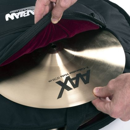 Standard Cymbal Bag open with cymbal and its AAX logo revealed