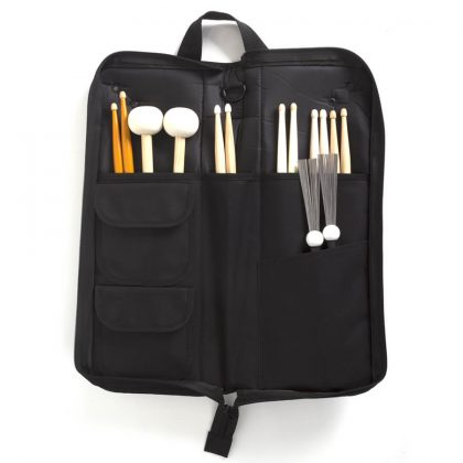 Open standard stick bag with sticks in pockets