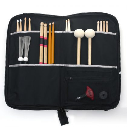 Premium stick bag open with sticks in pockets