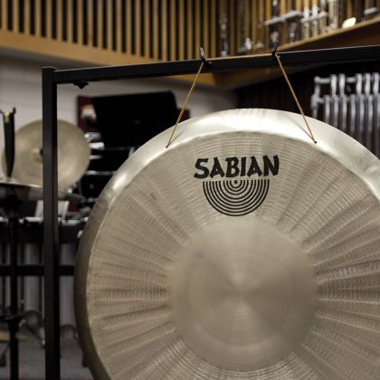 Close-up of small gong stand holding a SABIAN gong