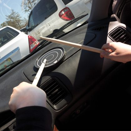 Grip disc being played in car
