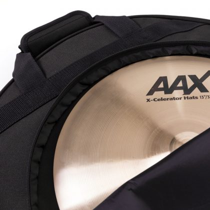 Quick 22 Black Out Cymbal Bag open and holding cymbal