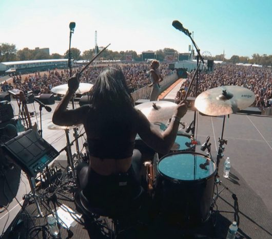 Brittany Bowman playing cymbals