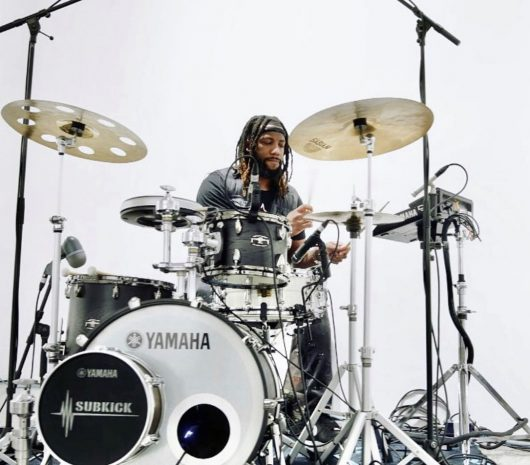 Duayne Sanford playing cymbals
