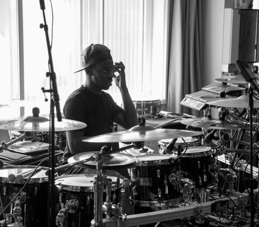 Jesse J Grant playing cymbals