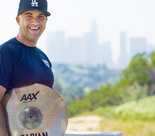 Angel Rodriguez playing cymbals