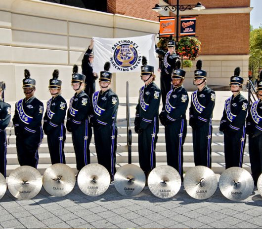 Baltimore Ravens playing cymbals