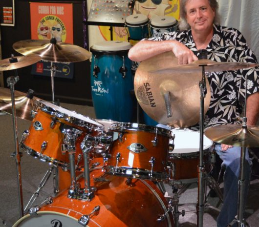 Barry Olsavsky playing cymbals
