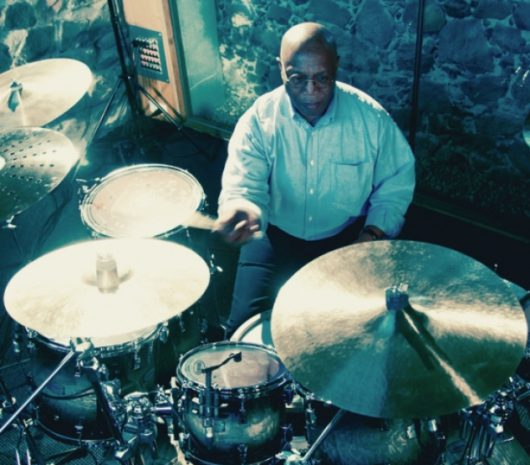 Billy Cobham playing cymbals