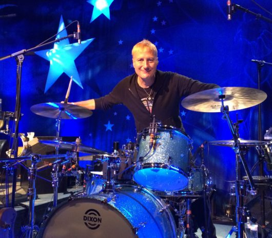 Gregg Bissonette playing cymbals