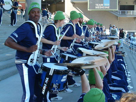 Blue Thunder Drumline playing cymbals