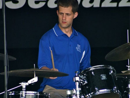 Brandon Wood playing cymbals