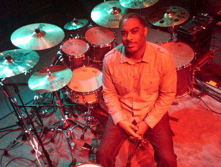 Calvin Napper playing cymbals