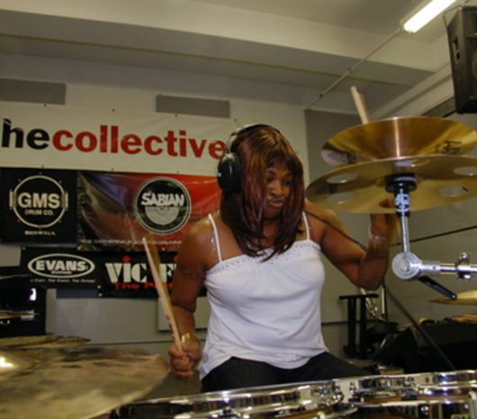 Camille Gainer playing cymbals