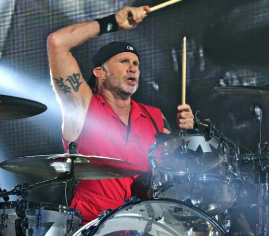 Chad Smith playing cymbals