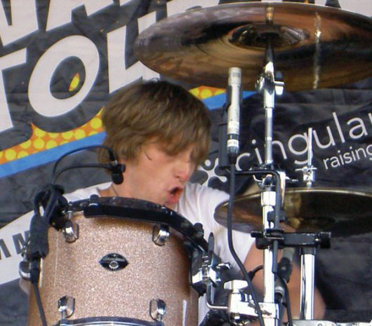 Chris Gaylor playing cymbals