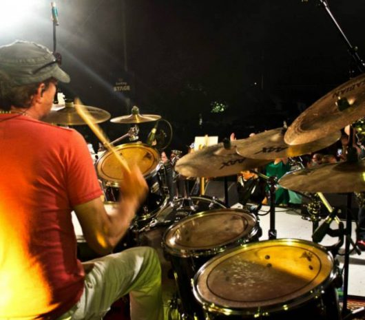 Chris McNeill playing cymbals