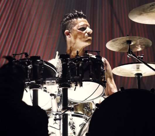 Christoph Schneider playing cymbals