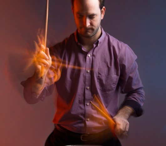 Christopher Herman playing cymbals