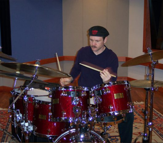 David Calarco playing cymbals