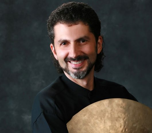 David Collier playing cymbals