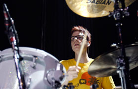 Drew Steen playing cymbals