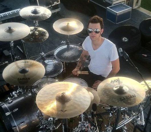 Dusty Saxton playing cymbals