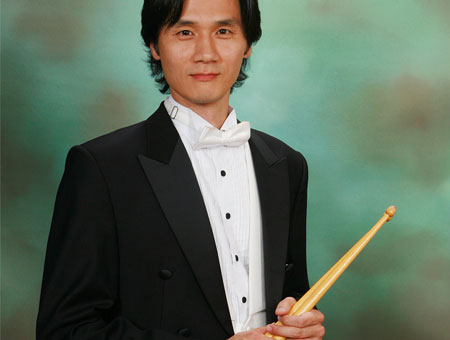 Edward Choi playing cymbals