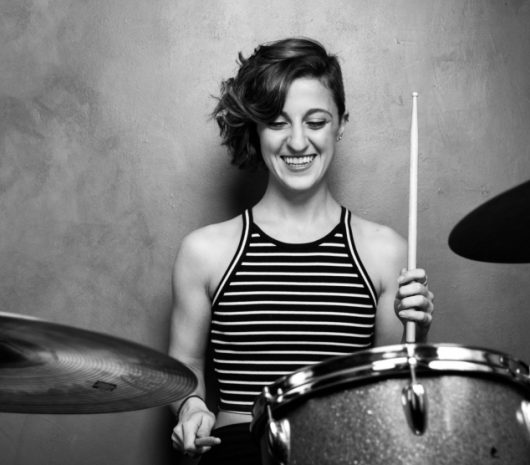 Elena Bonomo playing cymbals