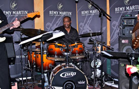 Fred Dinkins playing cymbals