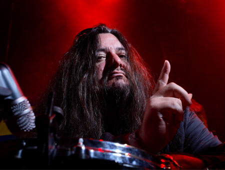 Gene Hoglan playing cymbals