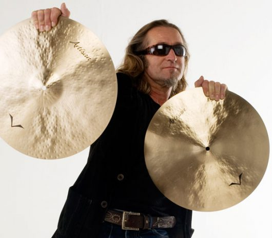 Geoff Dugmore playing cymbals
