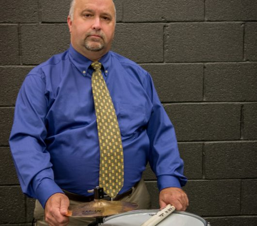 Greg Dearman playing cymbals