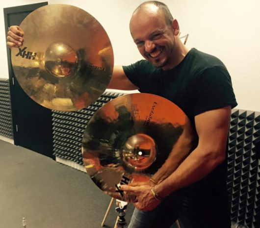 Hugo Danin playing cymbals