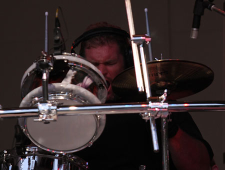 Jason 'Sulli' Sullivan playing cymbals