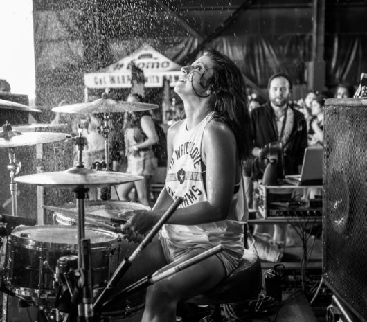 Jess Bowen playing cymbals