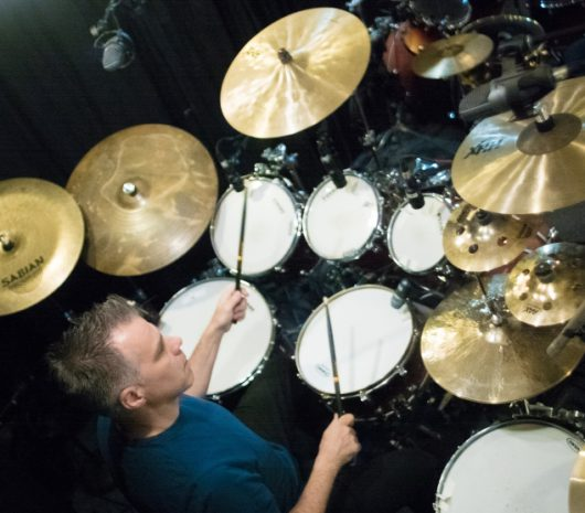 Jim Toscano playing cymbals
