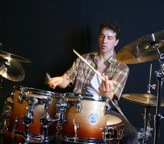 John Calarco playing cymbals