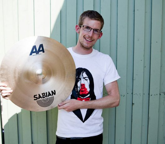 Jonathan Diener playing cymbals