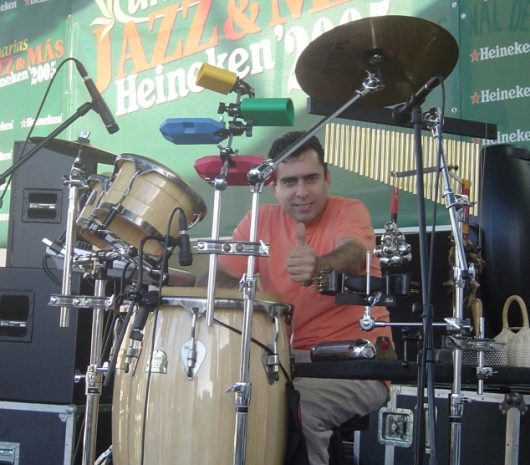 Jorge Soroa playing cymbals