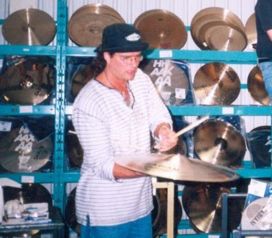 Lance Chalmers playing cymbals