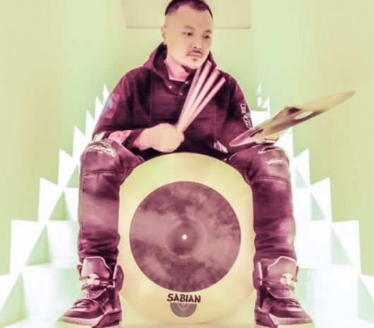 Lucas Chao playing cymbals