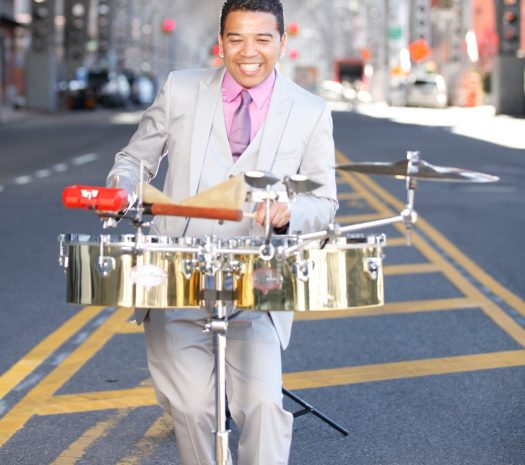 Luisito Quintero playing cymbals
