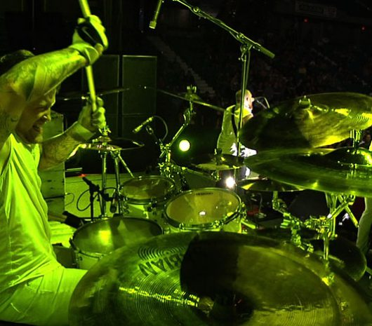 Mark Castillo playing cymbals