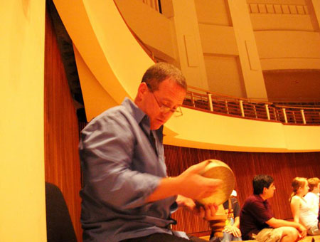 Michael Lipsey playing cymbals