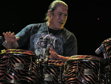 Raul Rekow playing cymbals