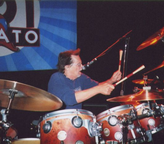Richie Hayward playing cymbals
