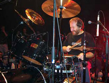Rick Gratton playing cymbals