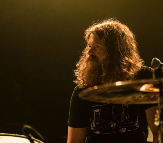 Robbie Crowell playing cymbals